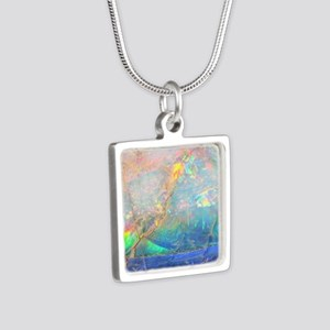opal gemstone iridescent m Silver Square Necklace