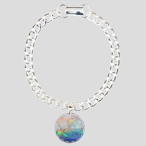 opal gemstone iridescent Charm Bracelet, One Charm