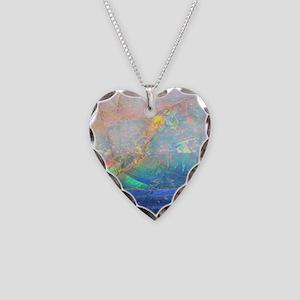 opal gemstone iridescent mine Necklace Heart Charm
