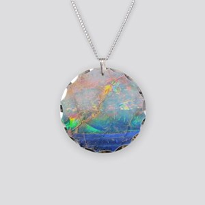 opal gemstone iridescent min Necklace Circle Charm