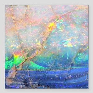 "opal gemstone iridescent Square Car Magnet 3"" x 3"""