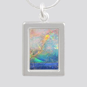 opal gemstone iridescent Silver Portrait Necklace