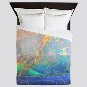 opal gemstone iridescent mineral bling Queen Duvet