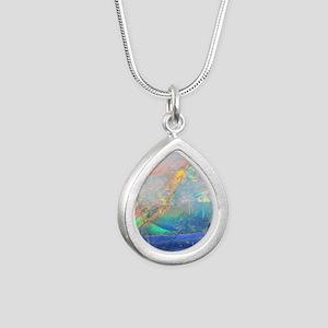 opal gemstone iridescent Silver Teardrop Necklace
