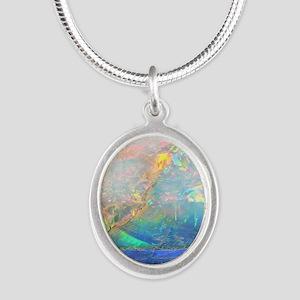opal gemstone iridescent mine Silver Oval Necklace