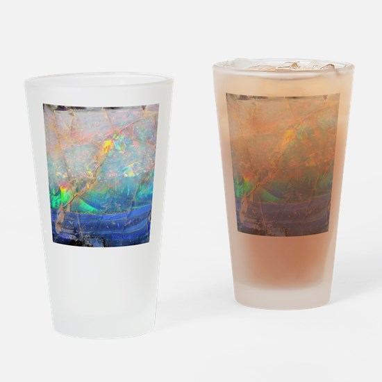 opal gemstone iridescent mineral bl Drinking Glass