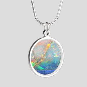 opal gemstone iridescent min Silver Round Necklace