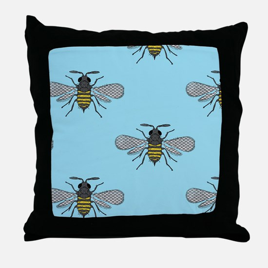 antique bees Throw Pillow