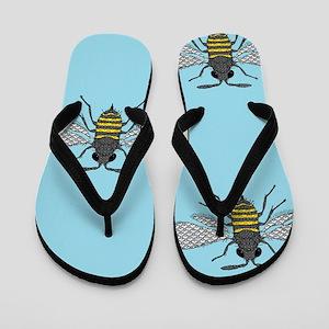 antique bees Flip Flops