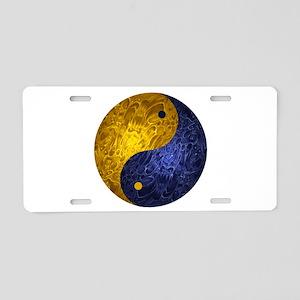 Blue Yellow Demon Yin Yang Aluminum License Plate