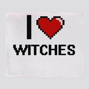 I love Witches digital design Throw Blanket