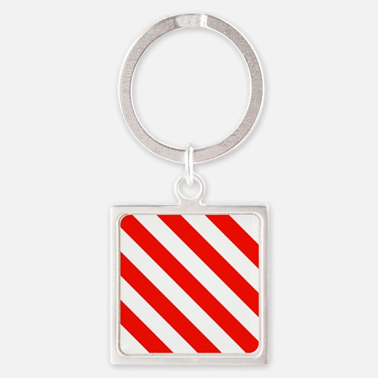 Candy Cane Stripes Holiday Pattern Square Keychain