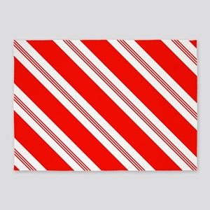 Candy Cane Stripes Holiday Pattern 5'x7'Area Rug