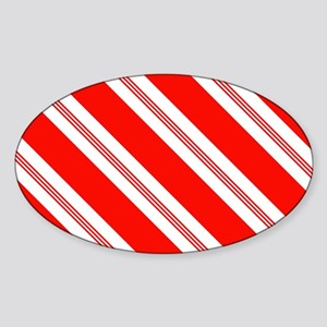 Candy Cane Stripes Holiday Pattern Sticker (Oval)