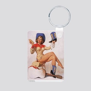 Pin Up: Cowgirl ! Aluminum Photo Keychain