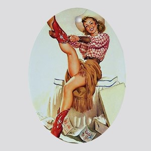 Pin Up: Cowgirl ! Oval Ornament