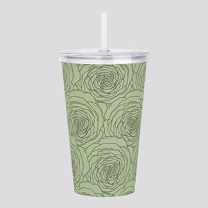 Green and Gray Cabbage Roses Pattern Acrylic Doubl