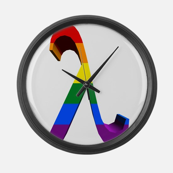 3D Rainbow Lambda Large Wall Clock