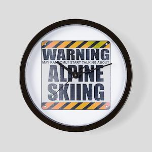 Warning: Alpine Skiing Wall Clock