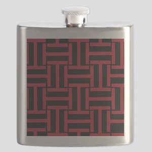 Deep Red and Black T Weave Flask