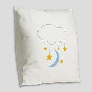Cloud Mobile Burlap Throw Pillow