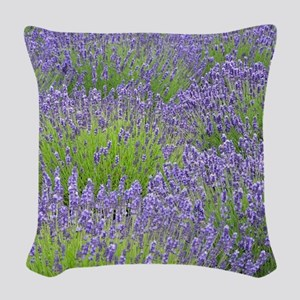 Purple lavender field Woven Throw Pillow