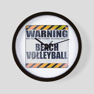 Warning: Beach Volleyball Wall Clock
