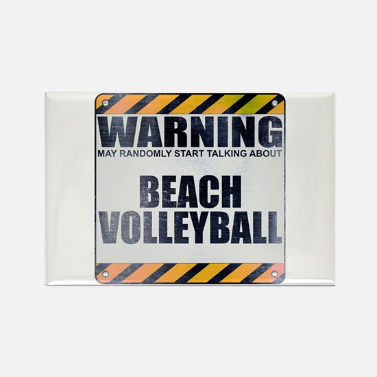 Warning: Beach Volleyball Rectangle Magnet