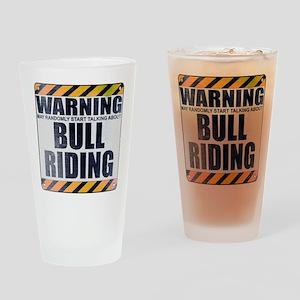 Warning: Bull Riding Drinking Glass