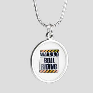 Warning: Bull Riding Silver Round Necklace