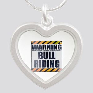 Warning: Bull Riding Silver Heart Necklace