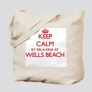 Keep calm by relaxing at Wells Beach Main Tote Bag