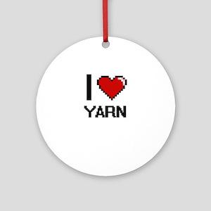 I love Yarn digital design Round Ornament