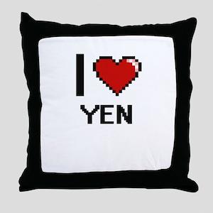 I love Yen digital design Throw Pillow