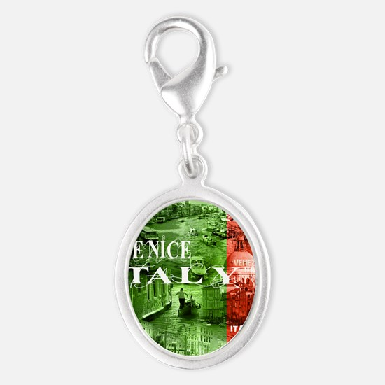 VENICE ITALY CANALS Silver Oval Charm