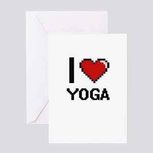 I love Yoga digital design Greeting Cards