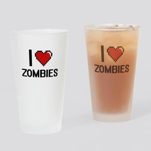 I love Zombies digital design Drinking Glass