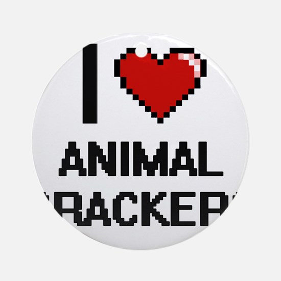 I love Animal Crackers digital desi Round Ornament
