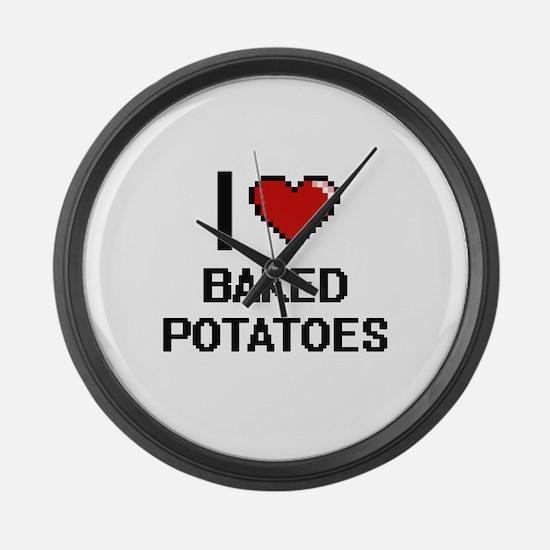 I love Baked Potatoes digital des Large Wall Clock