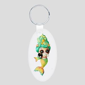 Dia de Los Muertos Cute Mermaid Girl Keychains