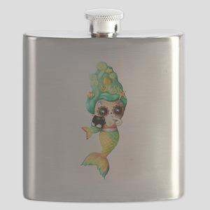 Dia de Los Muertos Cute Mermaid Girl Flask