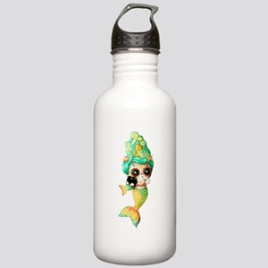 Dia de Los Muertos Cute Mermaid Girl Water Bottle