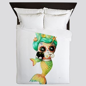Dia de Los Muertos Cute Mermaid Girl Queen Duvet