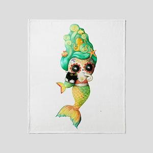 Dia de Los Muertos Cute Mermaid Girl Throw Blanket