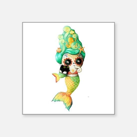 Dia de Los Muertos Cute Mermaid Girl Sticker
