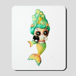 Dia de Los Muertos Cute Mermaid Girl Mousepad