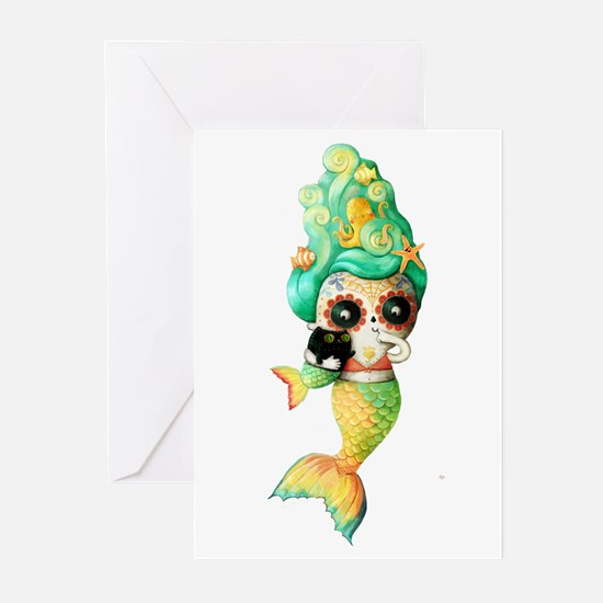 Dia de Los Muertos Cute Mermaid Girl Greeting Card
