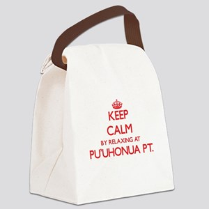 Keep calm by relaxing at Pu'Uhonu Canvas Lunch Bag