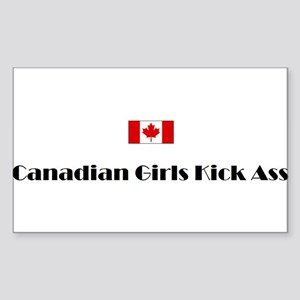Canadian Girls Kick Ass Rectangular Sticker