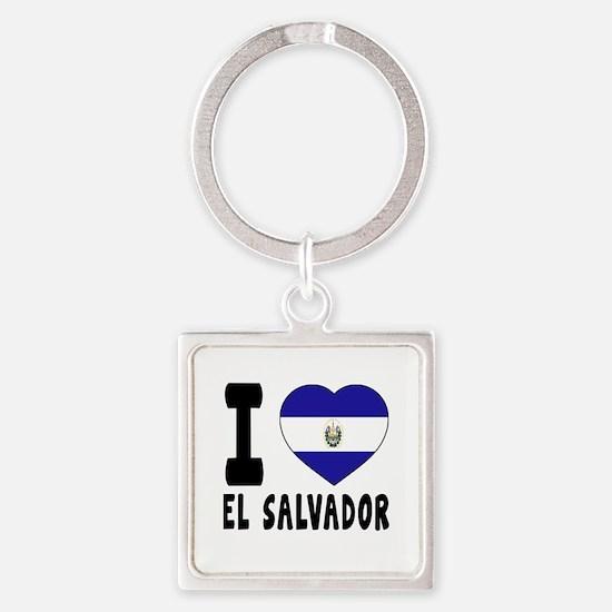 I Love El Salvador Square Keychain